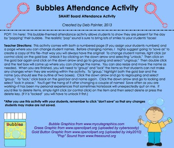 """Spring & Summer Themed """"Bubbles"""" SMART Board Attendance w/ SOUND and ANIMATION"""