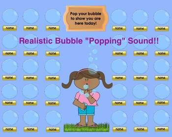 "Spring & Summer Themed ""Bubbles"" SMART Board Attendance w/"