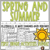 Spring & Summer Worksheets Bundle for First Grade: Literacy and Math Printables