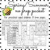 Spring/Summer themed packet for preschoolers and homeschoolers