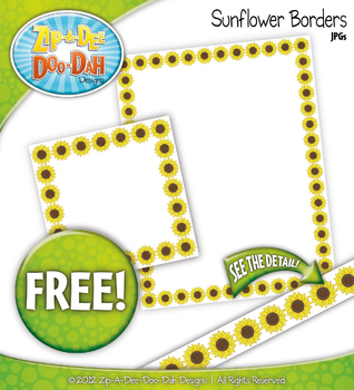 {FREE} Spring Sunflower Blossoms Clipart Borders