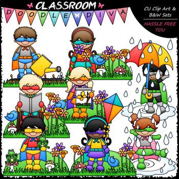 Spring Superhero Kids - Clip Art & B&W Set