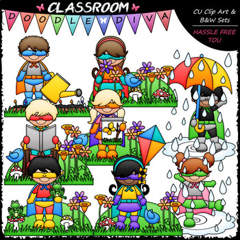 Spring Superhero Kids - Clip Art & B&W Set