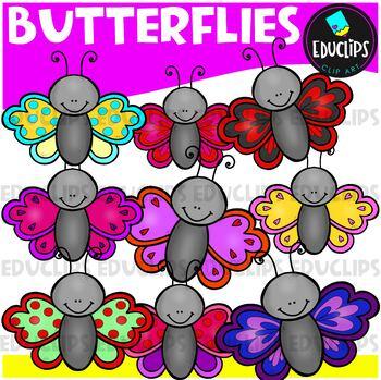Colorful Butterflies Clip Art Bundle {Educlips Clipart}