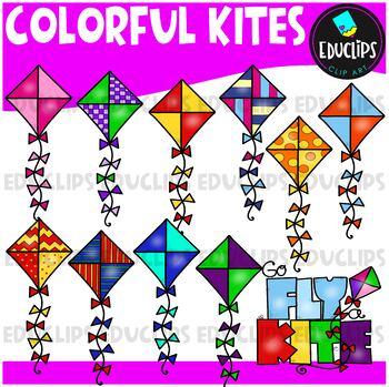 Colorful Kites Clip Art Bundle {Educlips Clipart}