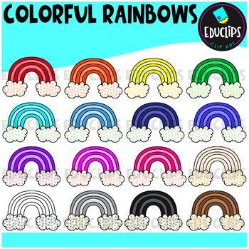 Colorful Rainbows Clip Art Bundle