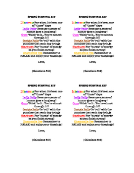 Spring Survival Kit Tags- WITH Bible Verse