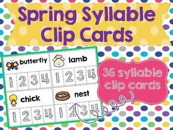 Spring Syllable Clip Cards