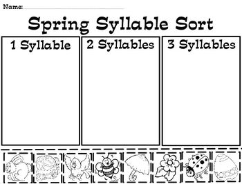 Spring Syllable Pocket Chart