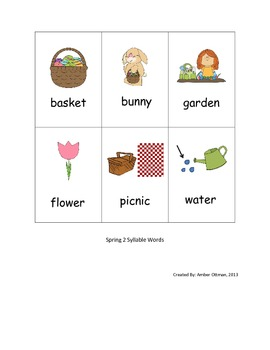 Spring Syllable Sort (1 & 2 syllable words)