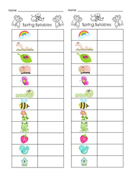 Spring Syllables - Common Core
