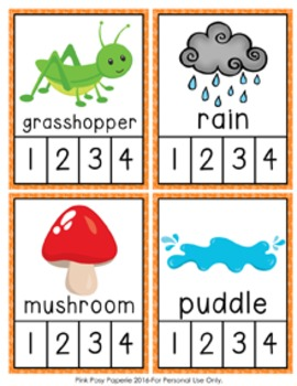 Spring Syllables Count and  Clip Cards