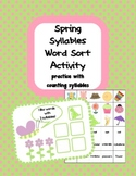 Spring Syllables Word Sort Activity