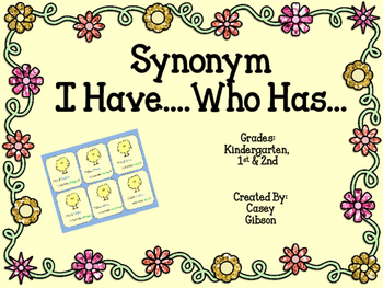 Spring Synonym I have... Who has... Game