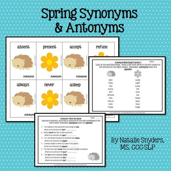Spring Synonym and Antonym Activities