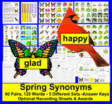 Spring Literacy Centers Synonyms: 60 Pairs - 120 Words - 3 Ways to Play