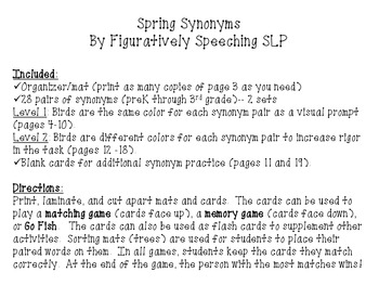 Spring Synonyms Activity