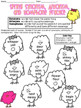 Spring Synonyms, Antonyms, and Homophones Practice