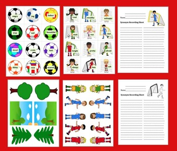 Soccer Literacy Centers - 60 Pairs of Synonyms - 5 Sets {12 Synonyms Per Set}