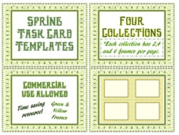 SALE Spring Task Card Templates: Collection of 2, 4 & 6 Frames per Page