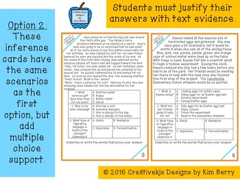 Inference and Figurative Language Task Cards:  Spring Edition