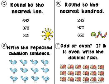 Spring Task Cards ~ Math and Grammar for grade 2