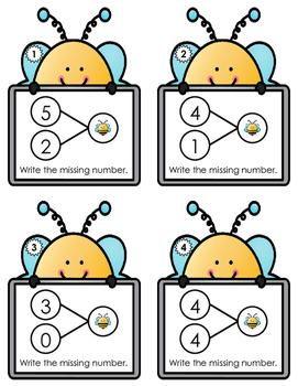 Number Bond Task Cards 0-20  •  Spring Bee