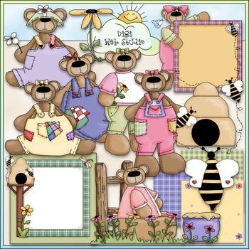 Spring Teddies Clip Art 1 - Spring Clip Art - Bear Clip Art - CU Clip Art & B&W
