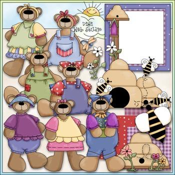 Spring Teddies Clip Art 2 - Spring Clip Art - Bear Clip Art - CU Clip Art & B&W