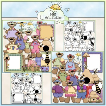 Spring Teddies Clip Art Bundle - Teddy Bears - 2 Clip Art & B&W Sets