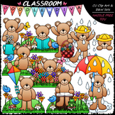 Spring Teddy Bears - Clip Art & B&W Set