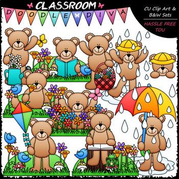 Spring Teddy Bears - Clip Art & B&W Set