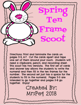 Spring Teen Number Ten Frame Scoot
