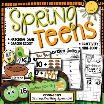 Spring Teens - Teen Numbers 11-19 Craftivity, Scoot Game, Math Center, Mini-Book
