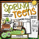 Spring Teens - Teen Numbers 11-19 Craftivity, Scoot Game, Math Center, Mini-Book