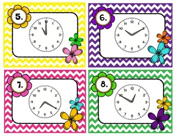 Spring Telling Time Scoot 5 Minute Intervals