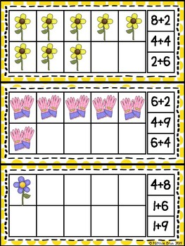 Spring Ten Frame Counting and Addition Math Center