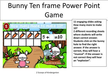 Spring Ten Frame (How Many More to Make 10?) Power Point Game (Bunny Theme)