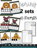 2 Sets of Spring Ten Frame Number Cards