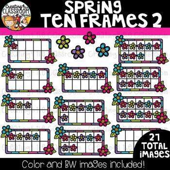 Spring Ten Frames Clipart {Spring Clipart}