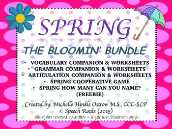 """Spring  """"The Bloomin' Bundle"""" (Vocabulary, Grammar, Articulation & More)"""