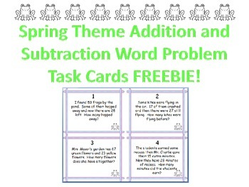 Spring Theme Addition and Subtraction Word Problem Freebie