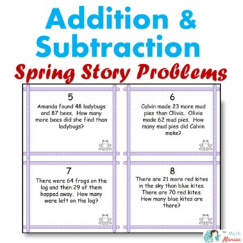 Spring Theme Addition and Subtraction Word Problem Task Cards