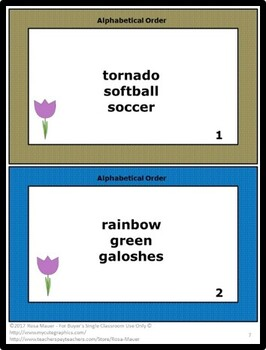 Spring Theme Alphabetical Order Practice Task Cards and Worksheet
