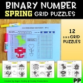 Spring Theme Binary Number 8x8 Grid Puzzles - 12 puzzles, No Prep