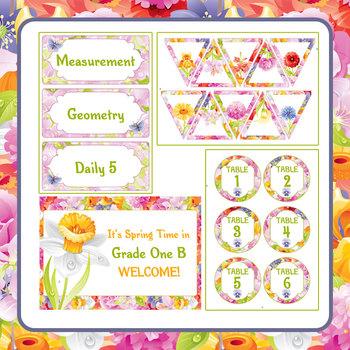 Spring Theme Classroom Decor / Decoration Set - Labels, Charts etc