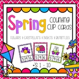 Spring Theme Counting Clip Cards ( Flowers, Butterflies, Insects) Numbers 0 - 10