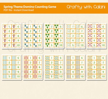 Spring Theme Domino Cards, Counting Game 1-10