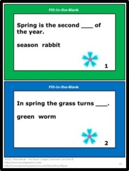 Spring Theme Fill-in-the-Blank Task Cards and Worksheet