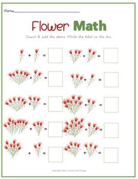 Spring Theme Flower Math Activity Set